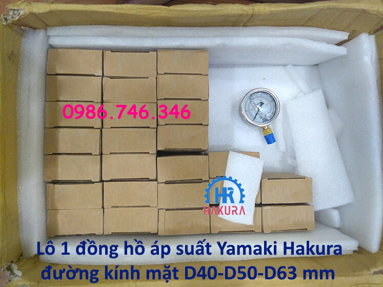 Lô 1 đồng hồ áp suất Yamaki Hakura đường kính mặt D40-D50-D63 mm