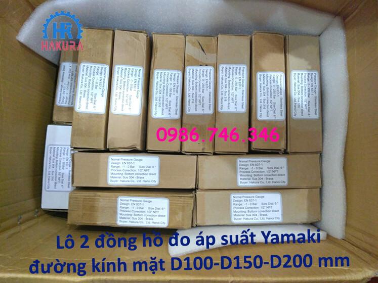 Lô 2 đồng hồ đo áp suất Yamaki đường kính mặt D100-D150-D200 mm