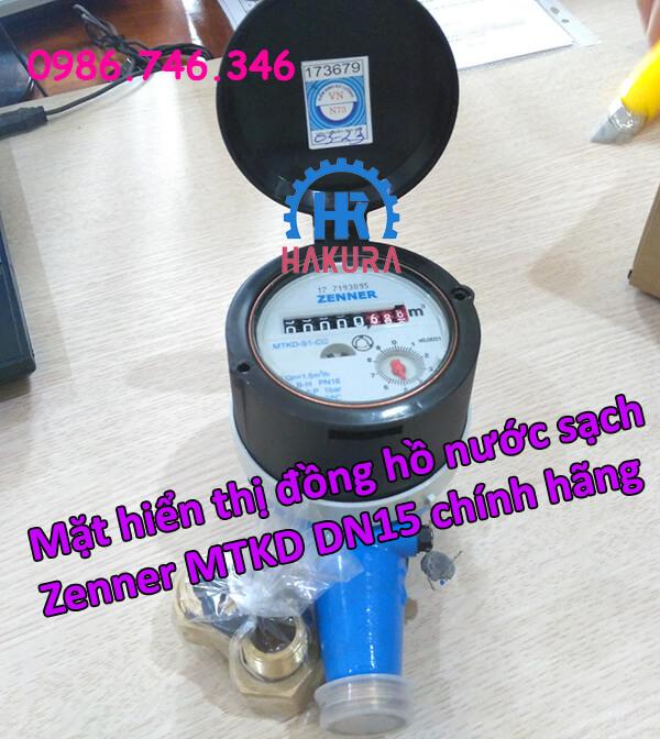 Mặt hiển thị đồng hồ nước sạch zenner MTKD DN15 chính hãng