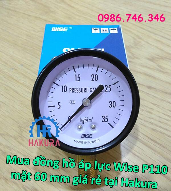 Mua đồng hồ áp lực Wise P110 mặt 60mm giá rẻ tại Hakura