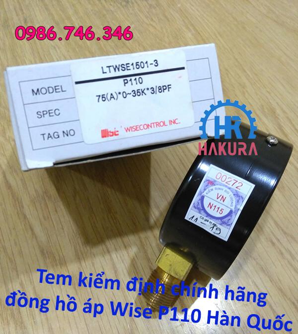 Tem kiểm định chính hãng đồng hồ áp Wise P110 Hàn Quốc