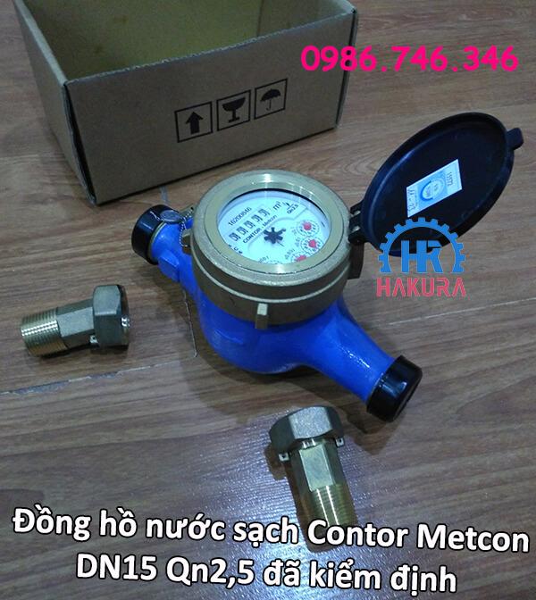 Đồng hồ nước sạch Contor Metcon DN15 Qn2,5 đã kiểm định