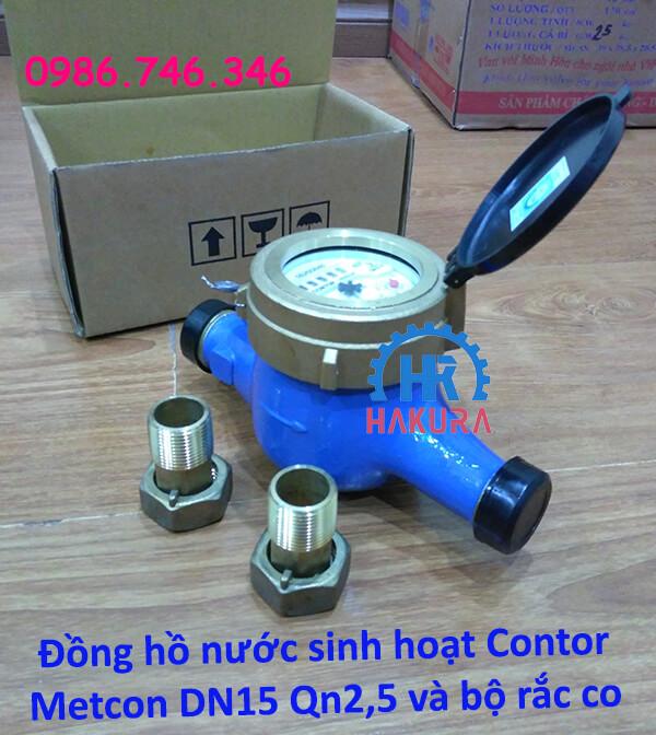 Đồng hồ nước sinh hoạt Contor Metcon DN15 Qn2,5 và bộ rắc co