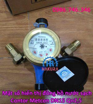 Mặt số hiển thị đồng hồ nước sạch Contor Metcon DN15 Qn2,5