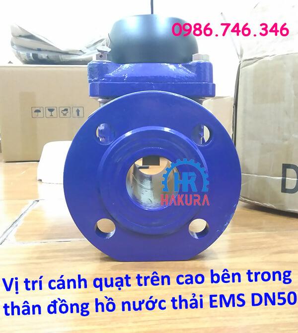 Vị trí cánh quạt nằm trên cao phía trong thân đồng hồ nước thải EMS DN50