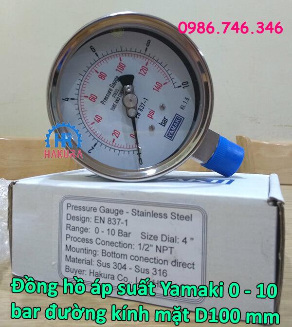Đồng hồ áp suất Yamaki 0 – 10 bar đường kính mặt D100 mm