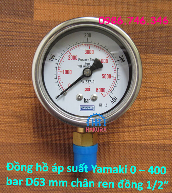 """Đồng hồ áp suất Yamaki 0 – 400 bar mặt D63 mm, vỏ inox chân ren đồng 1/2"""""""