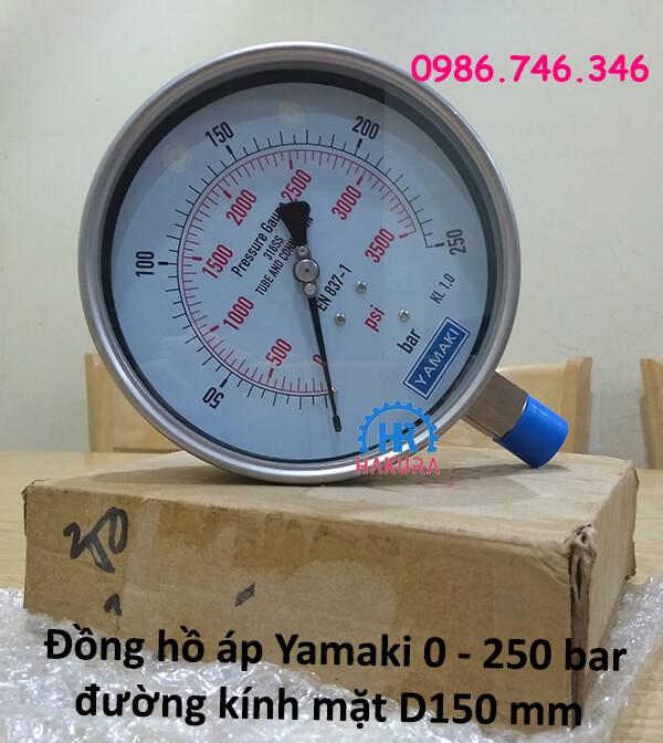 Đồng hồ áp Yamaki 0 – 250 bar đường kính mặt D150 mm