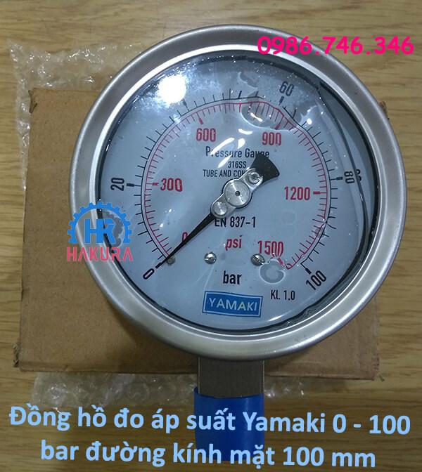 Đồng hồ đo áp suất Yamaki 0 – 100 bar đường kính mặt 100 mm
