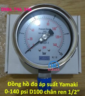 """Đồng hồ đo áp suất Yamaki 0 – 140 psi D100 mm chân ren 1/2"""""""