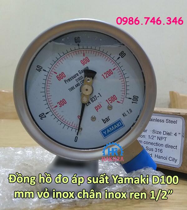 """Đồng hồ đo áp suất Yamaki D100 mm vỏ inox, chân inox ren 1/2"""""""