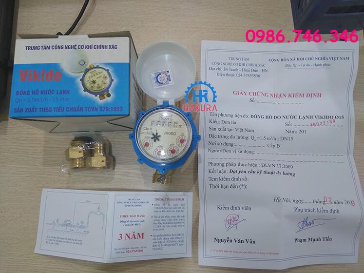Hộp đầy đủ đồng hồ nước Vikido, rắc co 2 đầu, giấy kiểm định và phiếu bảo hành 3 năm