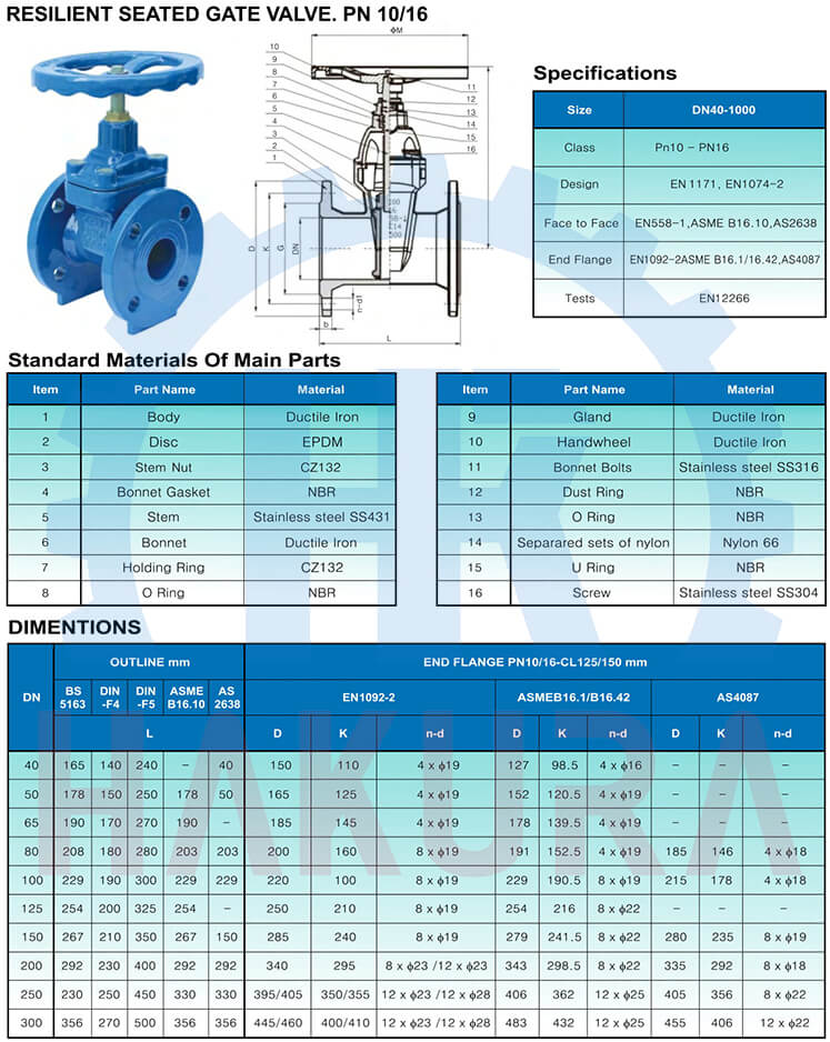 Catalogue thông số kỹ thuật van cổng ty chìm ARV DN80 pn16 gang cầu GGG50