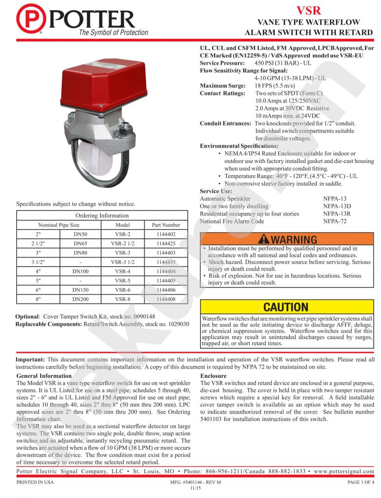 Catalogue thông số kỹ thuật công tắc dòng chảy Potter VSR2-VSR10-hakura.vn