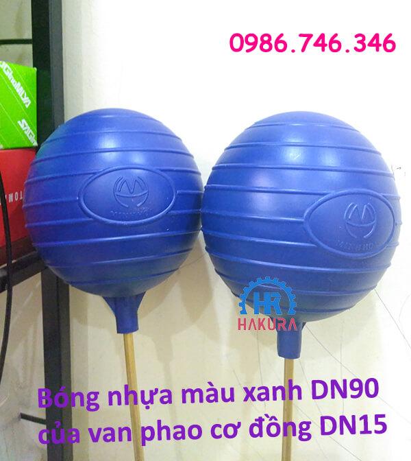 Bóng nhựa màu xanh dn90 của van phao cơ đồng DN15