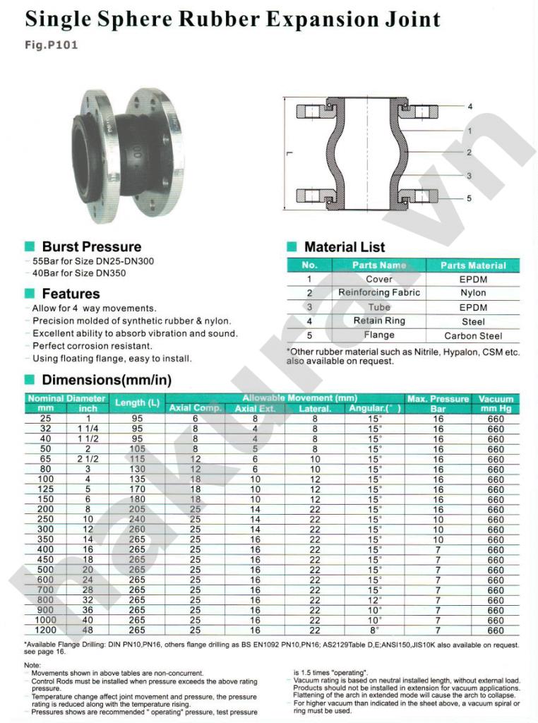 Catalogue thông số kỹ thuật khớp nối mềm cầu đơn JIS 10k-hakura.vn