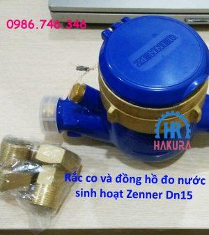 Rắc co và đồng hồ nước sạch Zenner DN15