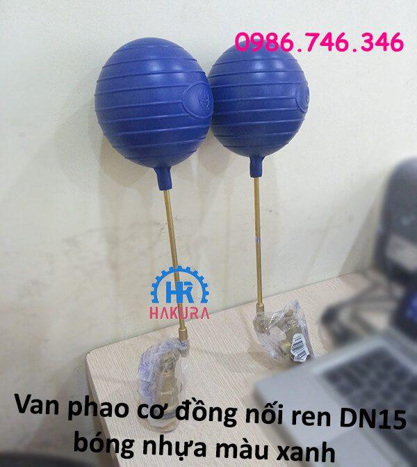 Van phao cơ đồng nối ren DN15 bóng nhựa màu xanh