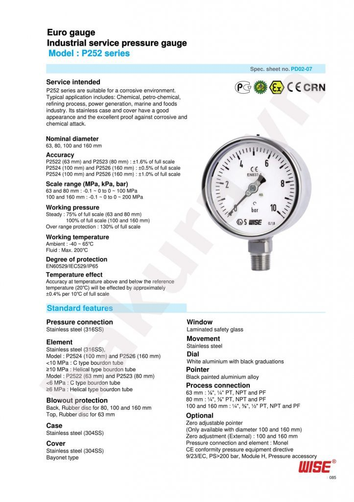 Catalogue thông số kỹ thuật đồng hồ áp suất Wise Model P252-hakkura.vn
