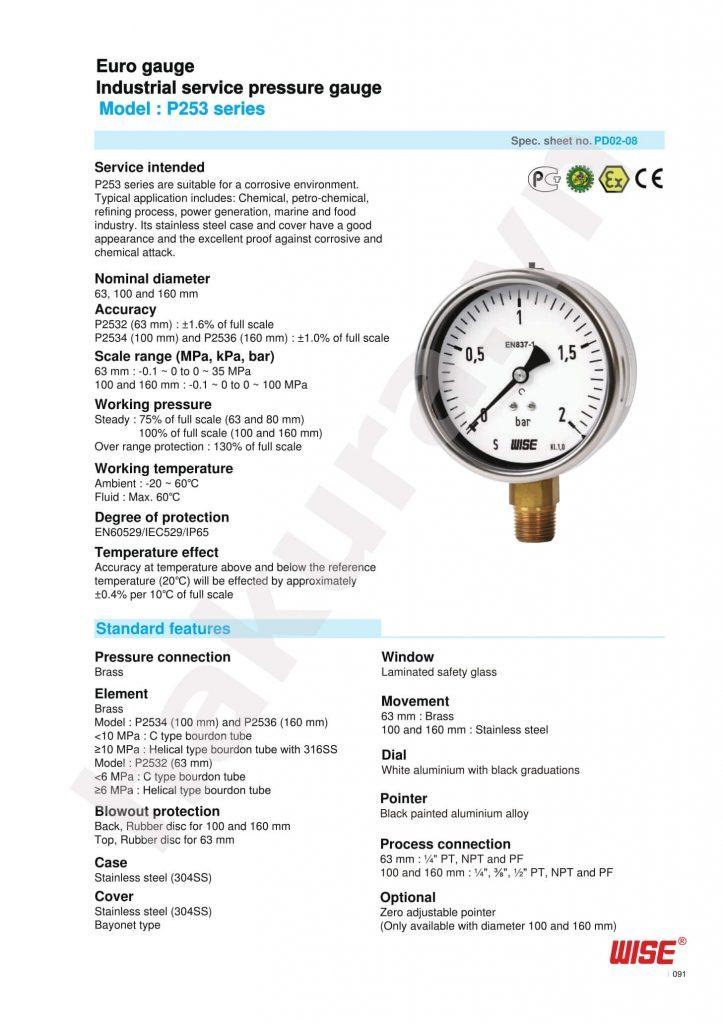 Catalogue thông số kỹ thuật đồng hồ áp suất Wise Model P253-hakura.vn