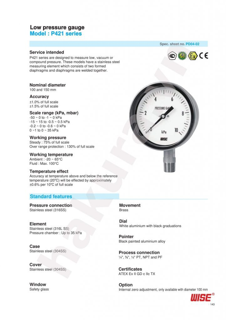 Catalogue thông số kỹ thuật đồng hồ áp suất Wise Model P421-hakura.vn