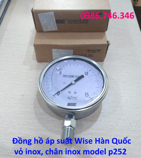 Đồng hồ áp suất Wise Hàn Quốc vỏ inox chân inox model p252 - hakura.vn