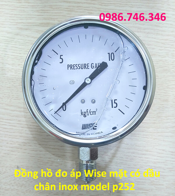 Đồng hồ đo áp Wise mặt có dầu chân inox model p252 - hakura.vn