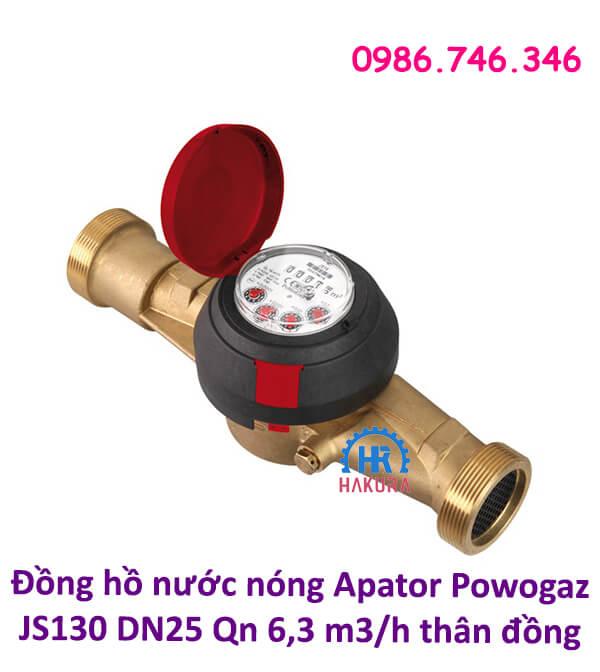 Đồng hồ nước nóng Apator Powogaz JS130 DN25 Qn6,3 m3/h thân đồng