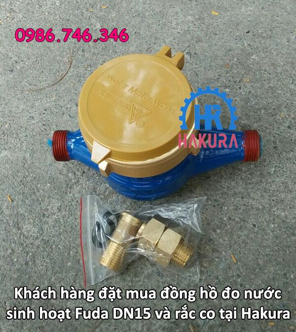 Khách hàng đặt mua đồng hồ đo nước sinh hoạt Fuda DN15 kèm rắc co tại Hakura