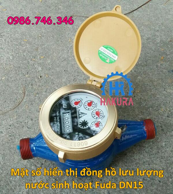 Mặt số hiển thị đồng hồ đo lưu lượng nước sinh hoạt Fuda DN15