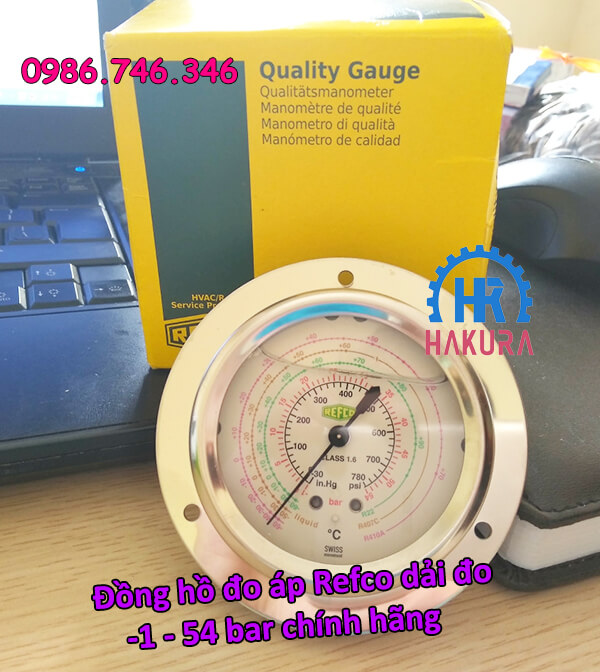 Đồng hồ đo áp Refco dải đo -1 - 54 bar chính hãng