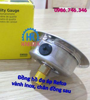 Đồng hồ đo áp Refco vành inox, chân đồng sau