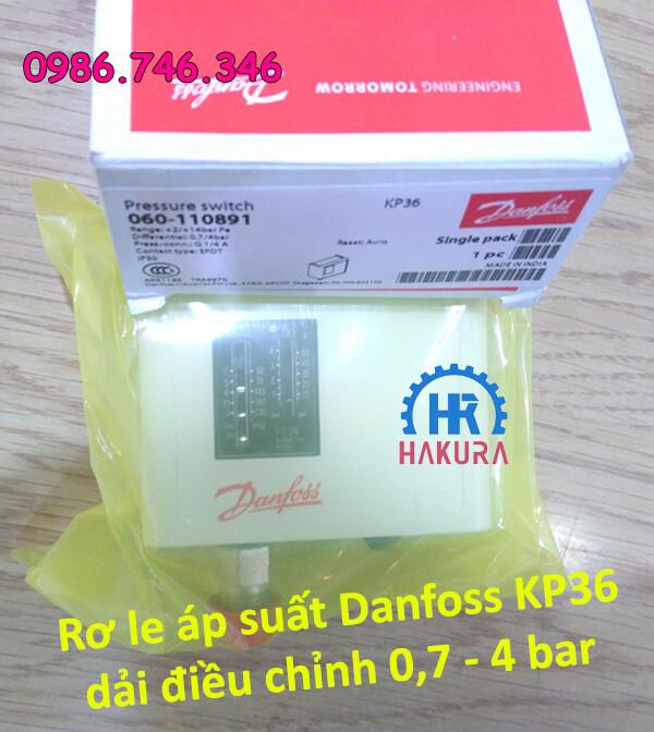 Rơ le áp suất Danfoss KP36 dải điều chỉnh 0,7 - 4 bar