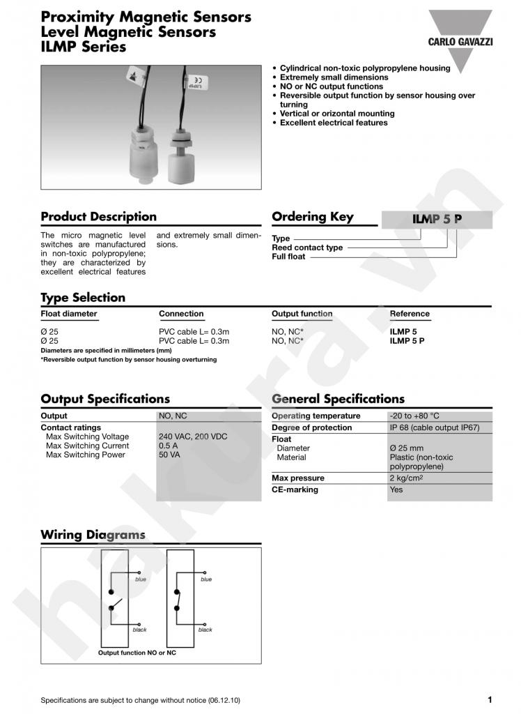 Catalogue thông số kỹ thuật Báo mức nước mức dầu ILMP5