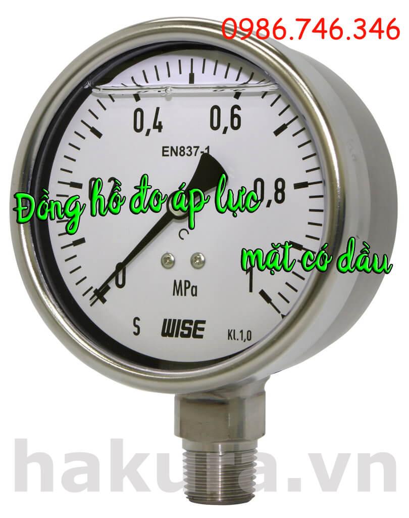Đồng hồ đo áp lực mặt có dầu - hakura.vn