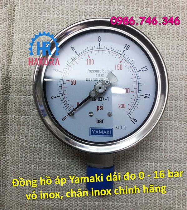 Đồng hồ áp Yamaki dải đo 0 - 16 bar vỏ inox, chân inox chính hãng