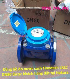 Đồng hồ đo nước sạch Flowtech LXLC DN80 được khách hàng đặt tại Hakura