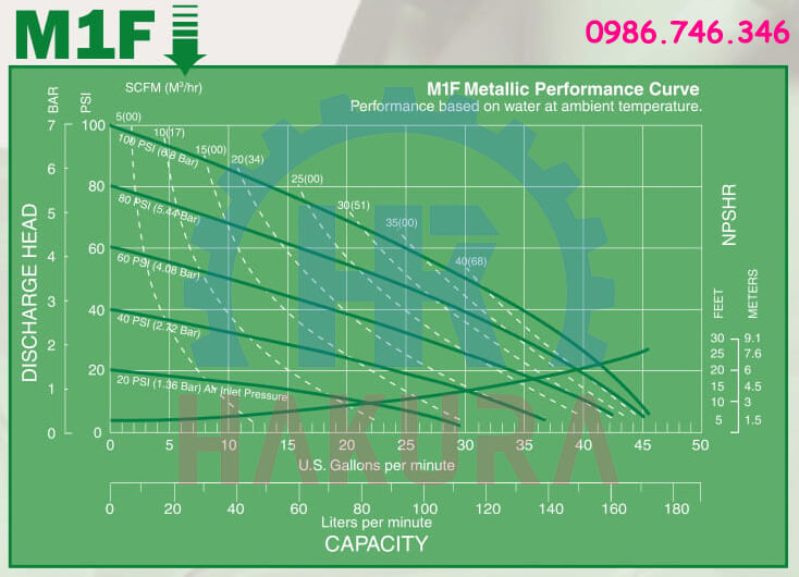Hiệu suất tính năng của bơm màng Marathon model M1F