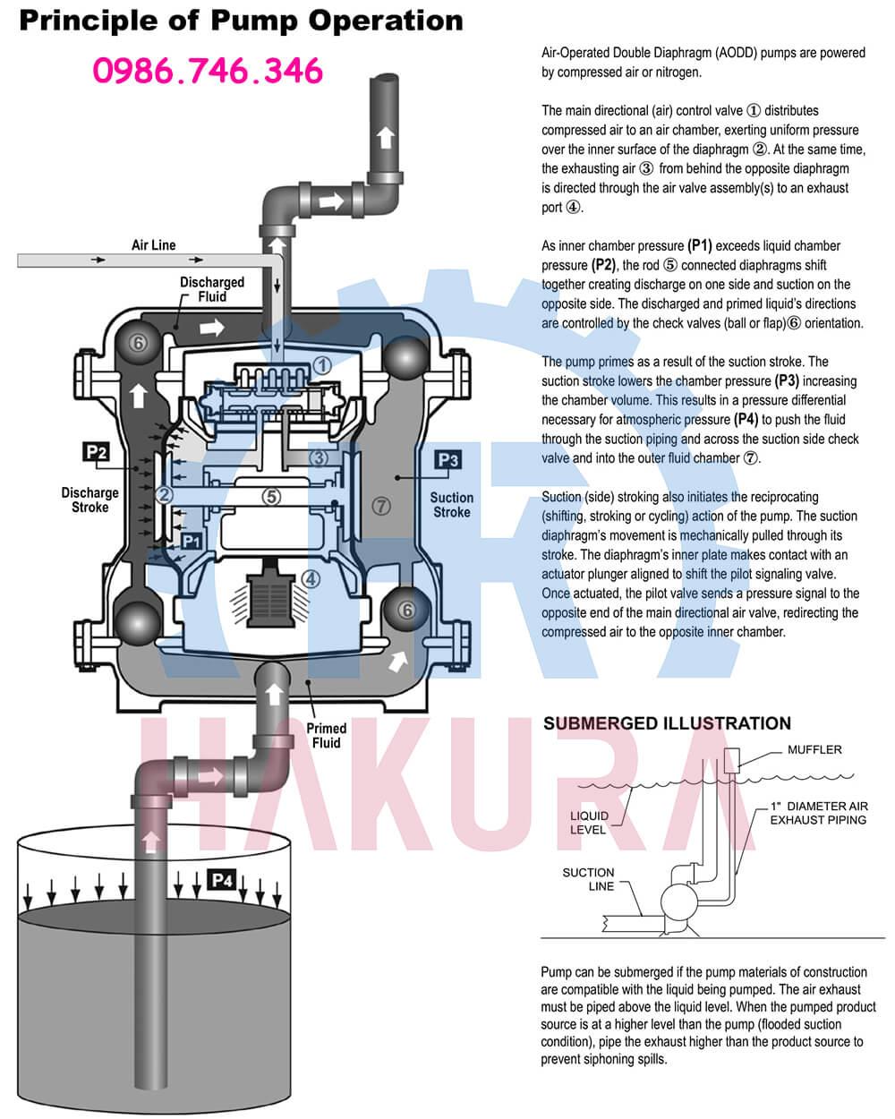 Nguyên lý hoạt động bơm màng khí nén Sandpiper S15