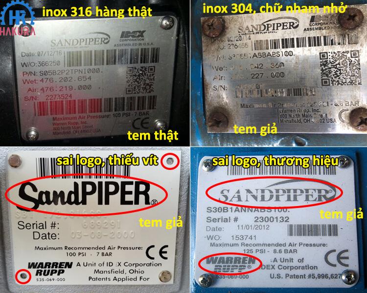 Phân biệt bơm màng Sandpiper giả - thật dựa trên tem nhãn mác