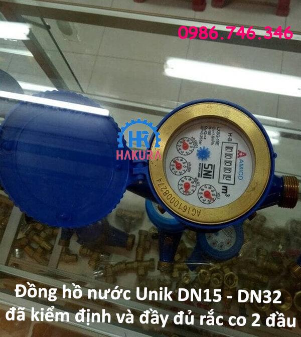 Đồng hồ nước Unik DN15-DN32 đã kiểm định, đầy đủ bộ rắc co 2 đầu