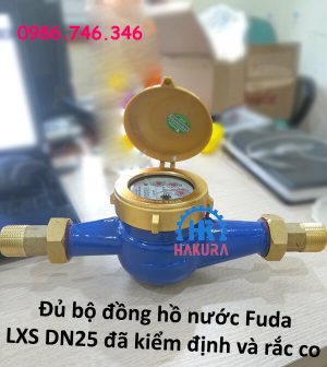 Đủ bộ đồng hồ nước Fuda LXS DN25 đã kiểm định và rắc co ren 2 đầu