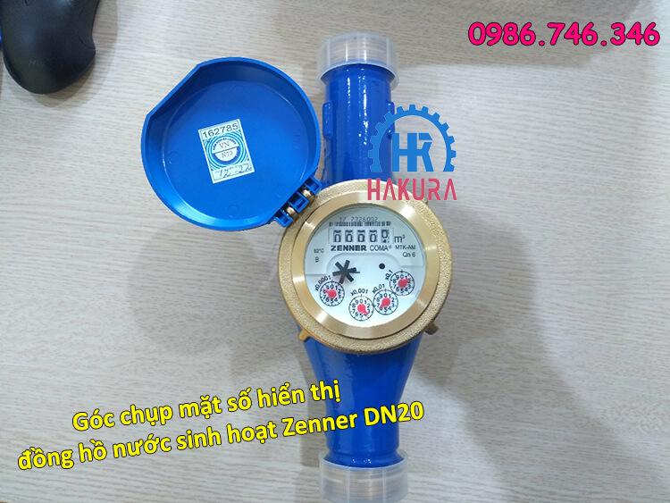 Góc chụp mặt số hiển thị đồng hồ đo lưu lượng nước sinh hoạt Zenner DN20