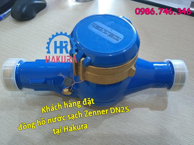 Khách hàng đặt đồng hồ lưu lượng nước sạch Zenner DN25 tại Hakura