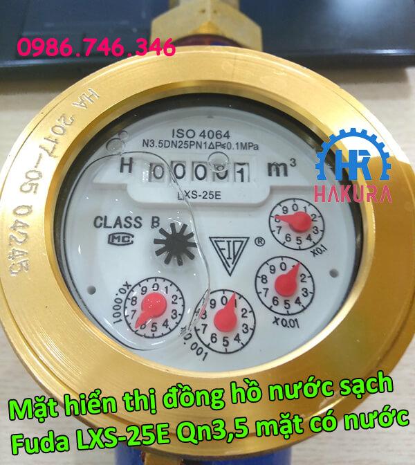 Mặt hiển thị đồng hồ nước sạch Fuda LXS-25E Qn3,5 mặt có nước