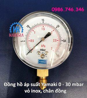 Đồng hồ áp suất Yamaki 0 - 30 mbar vỏ inox, chân đồng