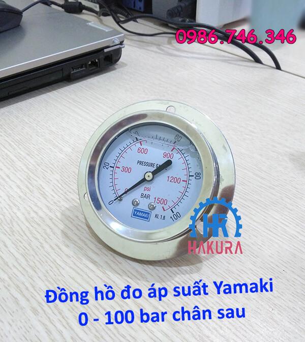 Đồng hồ đo áp suất Yamaki 0 - 100 bar chân sau
