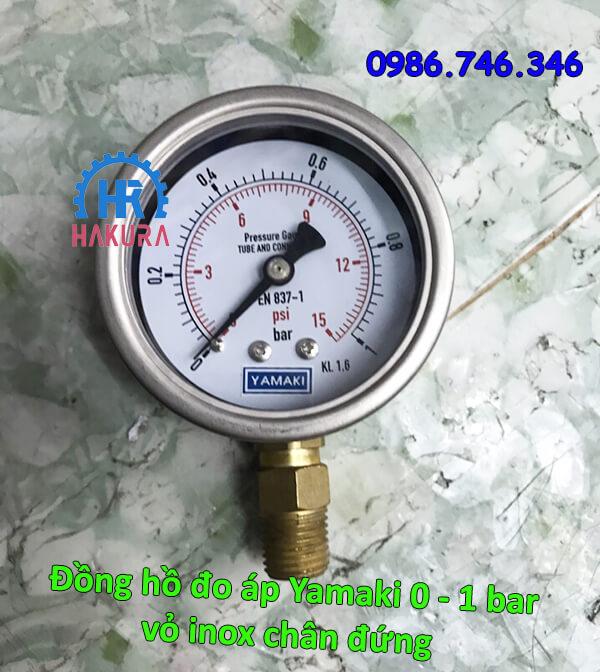 Đồng hồ đo áp Yamaki 0 - 1 bar vỏ inox chân đứng