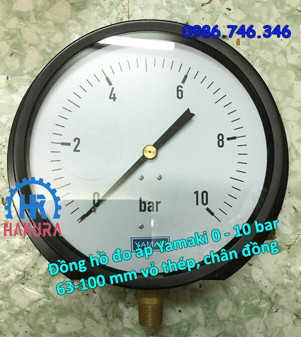 Đồng hồ đo áp Yamaki 0 - 10 bar mặt 63 - 100 mm vỏ thép chân đồng