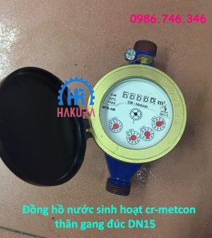 Đồng hồ nước sinh hoạt Cr-Metcon thân gang đúc DN15